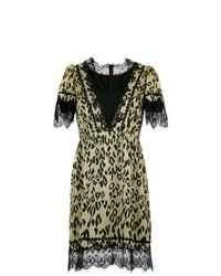 Vestido recto de leopardo marrón claro de À La Garçonne