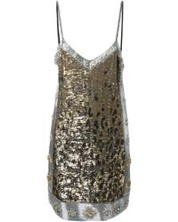 Vestido recto de leopardo plateado de Roberto Cavalli