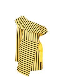Vestido recto de rayas verticales amarillo de Goen.J