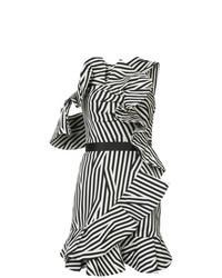 Vestido recto de rayas verticales en blanco y negro