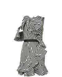 Vestido recto de rayas verticales en blanco y negro de Self-Portrait