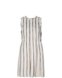 Vestido recto de rayas verticales gris de Proenza Schouler