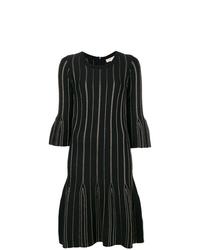Vestido recto de rayas verticales negro de MICHAEL Michael Kors