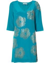 Vestido recto de seda estampado en verde azulado de Trina Turk
