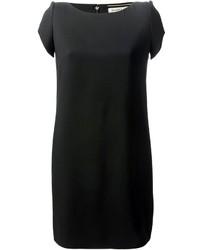 Vestido recto de seda negro