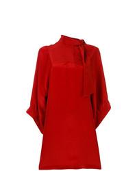 Vestido recto de seda rojo de Maison Margiela