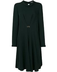 Vestido recto de seda verde oscuro de Salvatore Ferragamo