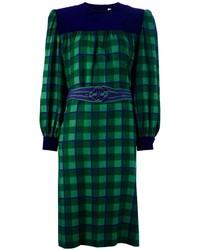 Vestido recto de tartán verde oscuro de Givenchy