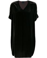 Vestido Recto de Terciopelo Negro