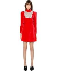 Vestido recto de terciopelo rojo