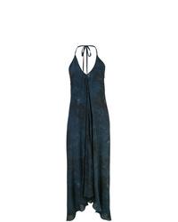 Vestido recto efecto teñido anudado azul marino