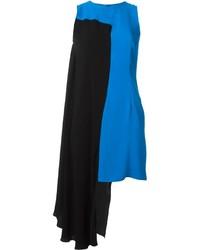Vestido recto en negro y azul