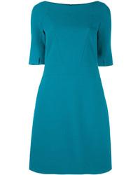 Vestido recto en verde azulado de Talbot Runhof