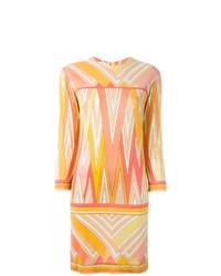 Vestido recto estampado amarillo de Emilio Pucci Vintage