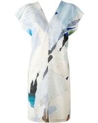 Vestido recto estampado blanco de Maison Margiela