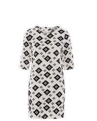 Vestido recto estampado en blanco y negro