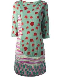 Vestido recto estampado verde de Tsumori Chisato