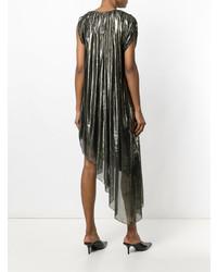 Vestido recto plateado de Lanvin