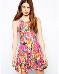 Vestido skater con print de flores en multicolor