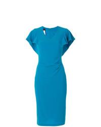 Vestido tubo azul de Talbot Runhof