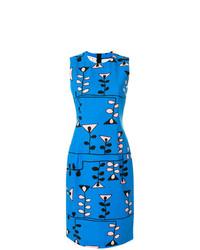 Vestido tubo con estampado geométrico azul de Marni