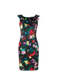 Vestido tubo con print de flores negro de Love Moschino