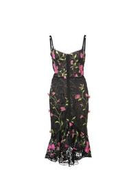 Vestido tubo con print de flores negro de Marchesa Notte