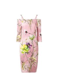Vestido tubo con print de flores rosado de Blumarine