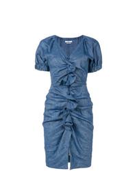 Vestido tubo con volante azul de Isabel Marant Etoile