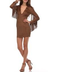 Vestido tubo de ante en marrón oscuro