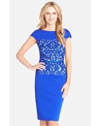 Vestido tubo de encaje azul