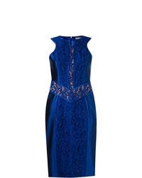 Vestido tubo de encaje azul de Martha Medeiros