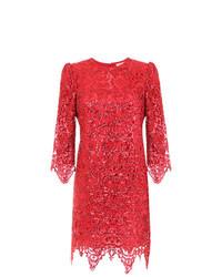 Vestido tubo de encaje rojo