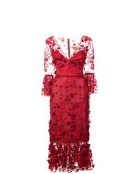 Vestido tubo de encaje rojo de Marchesa Notte
