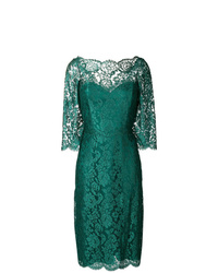 Vestido tubo de encaje verde oscuro de Rhea Costa