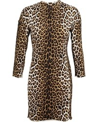 Vestido tubo de lana de leopardo marrón claro de 3.1 Phillip Lim