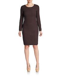 Vestido tubo de punto en marrón oscuro