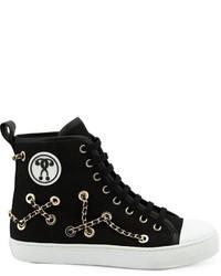 Zapatillas altas con adornos negras de Moschino