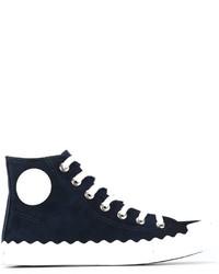 Zapatillas altas de ante azul marino de Chloé