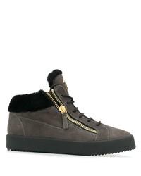 Zapatillas altas de ante en gris oscuro de Giuseppe Zanotti