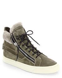 Zapatillas altas de ante verde oliva