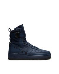 Zapatillas altas de cuero azul marino de Nike