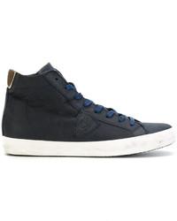 Zapatillas altas de cuero azul marino de Philippe Model