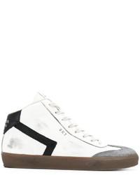 Zapatillas altas de cuero blancas de Leather Crown