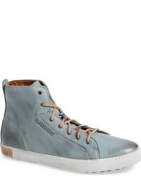 Zapatillas altas de cuero celestes