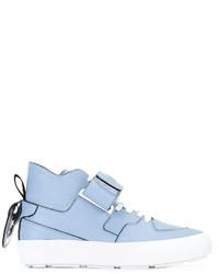 Zapatillas altas de cuero celestes de MSGM