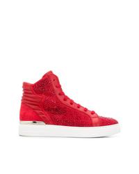 Zapatillas altas de cuero con adornos rojas de Philipp Plein