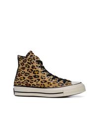 Zapatillas altas de cuero de leopardo marrónes de Converse