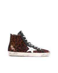 Zapatillas altas de cuero de leopardo marrónes de Golden Goose Deluxe Brand