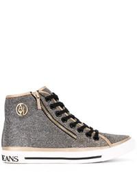 Zapatillas altas de cuero doradas de Armani Jeans